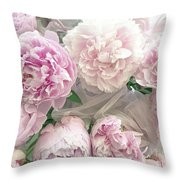 Romantic Shabby Chic Pastel Pink Peonies Bouquet - Romantic Pink Peony Flower Prints Throw Pillow