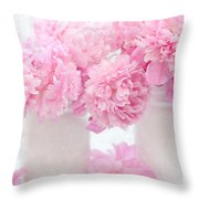 Shabby Chic Pastel Pink Peonies - Pink Peonies In White Mason Jars Throw Pillow