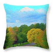 Romantic Skies Autumn Road Throw Pillow