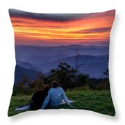 Romantic Smoky Mountain Sunset Throw Pillow