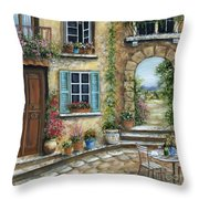 Romantic Tuscan Courtyard II Throw Pillow