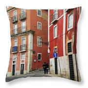 Romantic Walking At Old Lisbon Throw Pillow