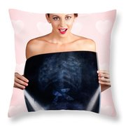 Romantic Woman In Love With Butterflies In Tummy Throw Pillow