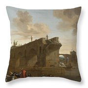 Rome. A View Of The Ponte Rotto Throw Pillow