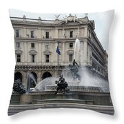 Rome Italy Fountain  Throw Pillow
