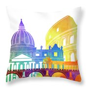 Rome Landmarks Watercolor Poster Throw Pillow