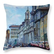 Rome Piazza Navona Throw Pillow by Ylli Haruni