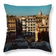 Rome Spanish Steps View Throw Pillow
