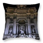 Rome, Trevi Fountain At Night Throw Pillow