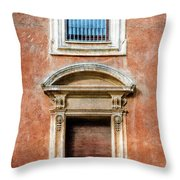 Rome Windows And Balcony Textured Throw Pillow