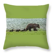 Romping By The Lake With Mama Bear Throw Pillow
