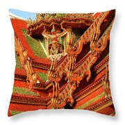 Roof Of Buddhist Temple In Thailand Throw Pillow