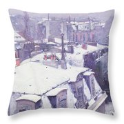 Roofs Under Snow Throw Pillow