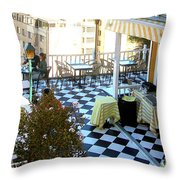 Rooftop Cafe Throw Pillow by Karen Zuk Rosenblatt