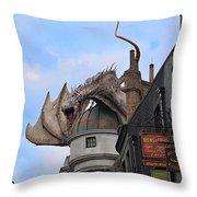 Rooftop Dragon Throw Pillow