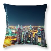 Rooftop Perspective Of Downtown Dubai Throw Pillow