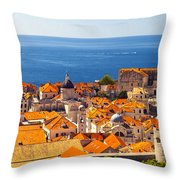 Rooftops Of Old Town Dubrovnik Throw Pillow