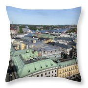 Rooftops Of Stockholm Throw Pillow
