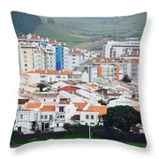 Rooftops Of Ponta Delgada Throw Pillow