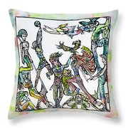 Room Of The Playing Friends Throw Pillow