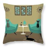 Room With Dark Aqua Chairs 2 Throw Pillow