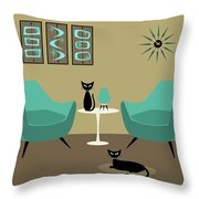 Room With Dark Aqua Chairs Throw Pillow