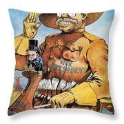 Roosevelt/mckinley Cartoon Throw Pillow