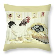 Rooster And Cat Throw Pillow