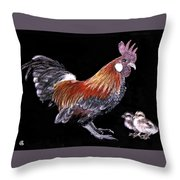 Rooster And Chicks Throw Pillow