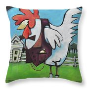 Rooster And Hen House Throw Pillow