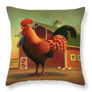 Rooster And The Barn Throw Pillow