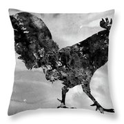 Rooster-black Throw Pillow
