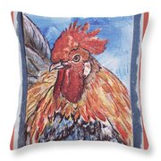 Rooster Country Painting On Blue  Throw Pillow