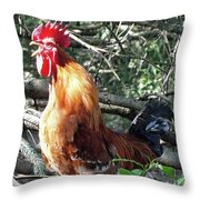 Rooster Crowing Throw Pillow