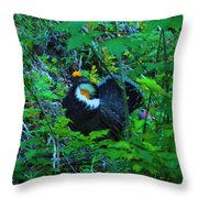 Rooster Grouse Posing Throw Pillow