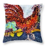 Rooster In The Morning Throw Pillow
