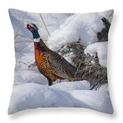 Rooster In The Snow Throw Pillow