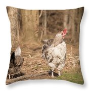 Rooster In The Woods. Throw Pillow