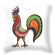 Rooster Mandala Throw Pillow