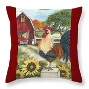 Rooster On The Apple Farm Throw Pillow
