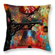 Rooster On The Door Whimsy Throw Pillow