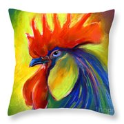 Rooster Painting Throw Pillow