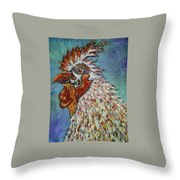 Rooster Visit Throw Pillow