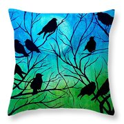 Roosting Birds Throw Pillow