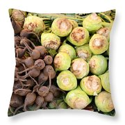 Root Display At Farmers Market Throw Pillow