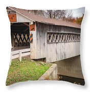 Root Rd Covered Bridge  Throw Pillow