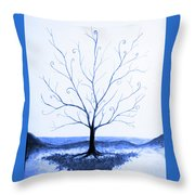 Roots Of A Tree In Blue Throw Pillow