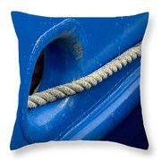 Rope Exiting Through The Bright Blue Throw Pillow