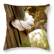 Rope In A Post Throw Pillow