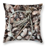 Rope In Shells Throw Pillow